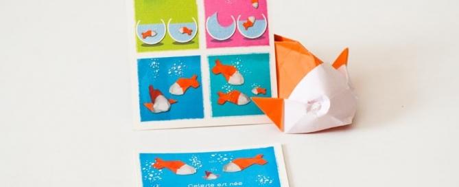 faire-parts imprimé, réalisé avec des origami