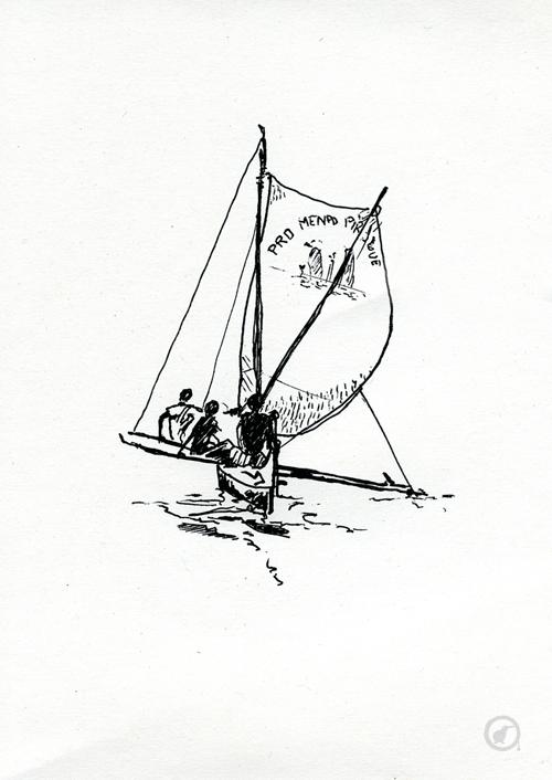 dessin d'une pirogue de madagascar