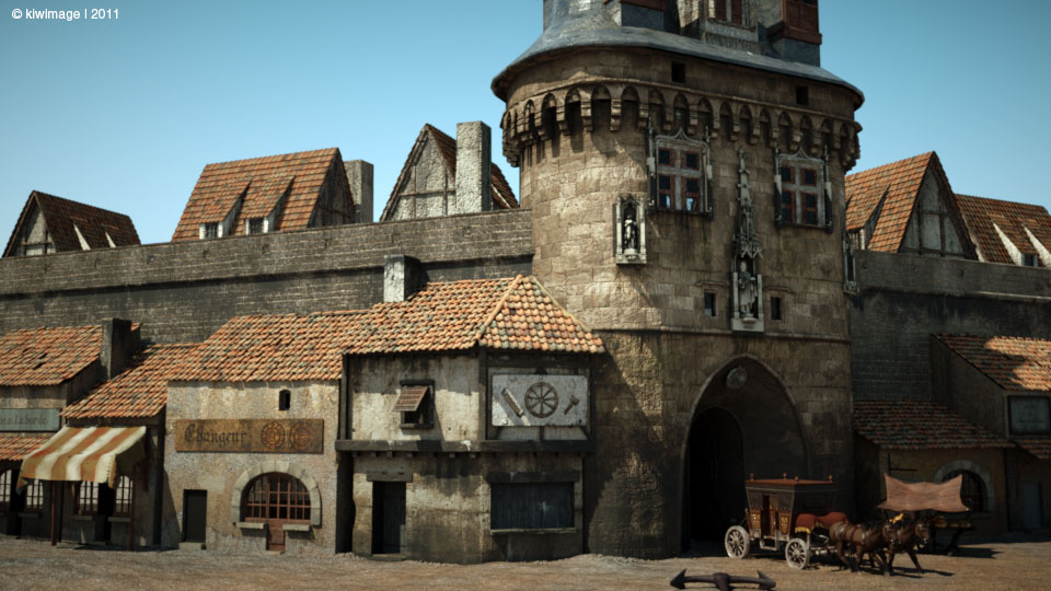 La porte cailhau et les échoppes bordelaises en 1650 - restitution 3d