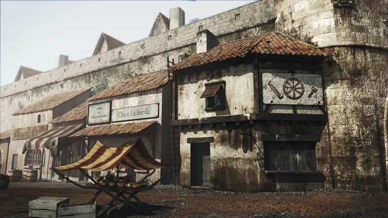 les échoppes et la porte cailhau à Bordeaux au 17eme siecle