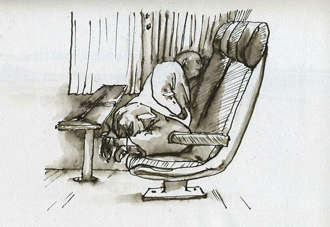 homme dormant, dessin