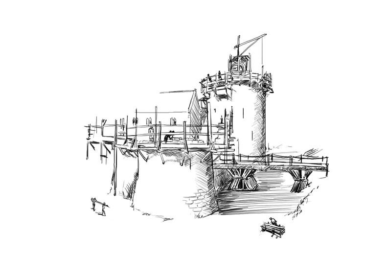 construction d'un château-fort
