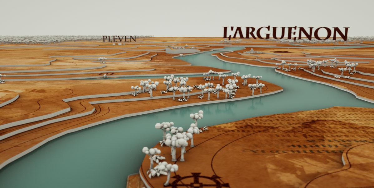 carte 3d environs hunaudaye