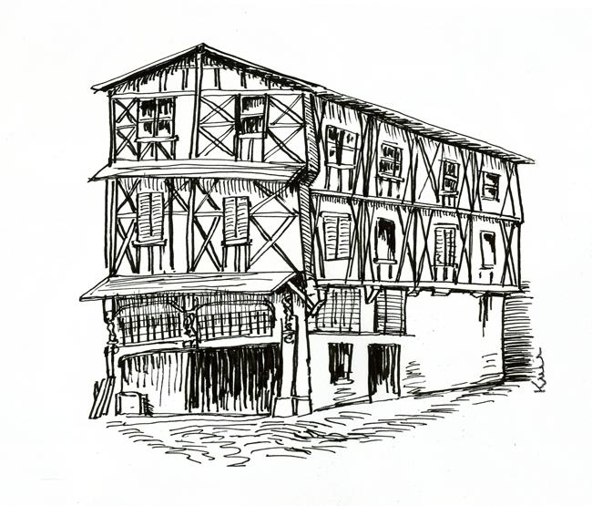 maison médiévale à colombages