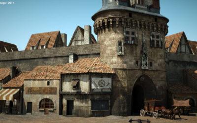 Modélisation 3d : la Porte Cailhau et ses échoppes