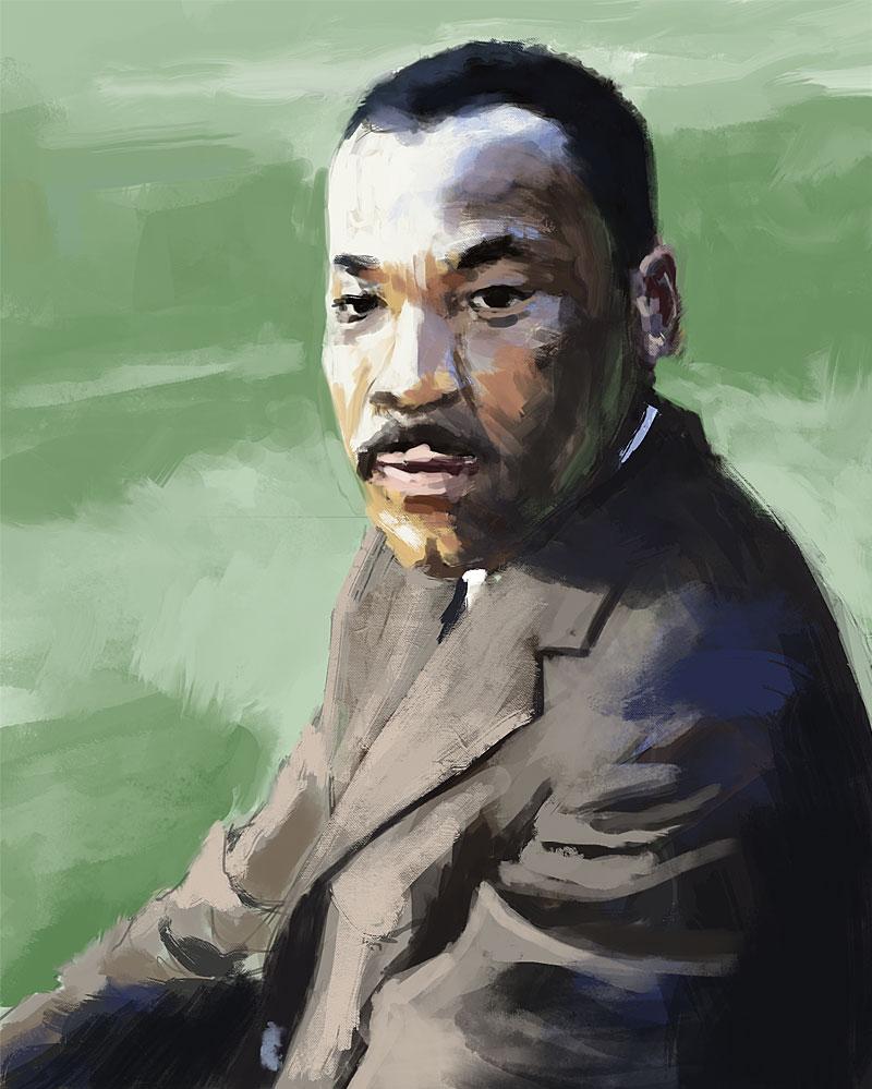Martin Luther King peinture numérique d'après photo