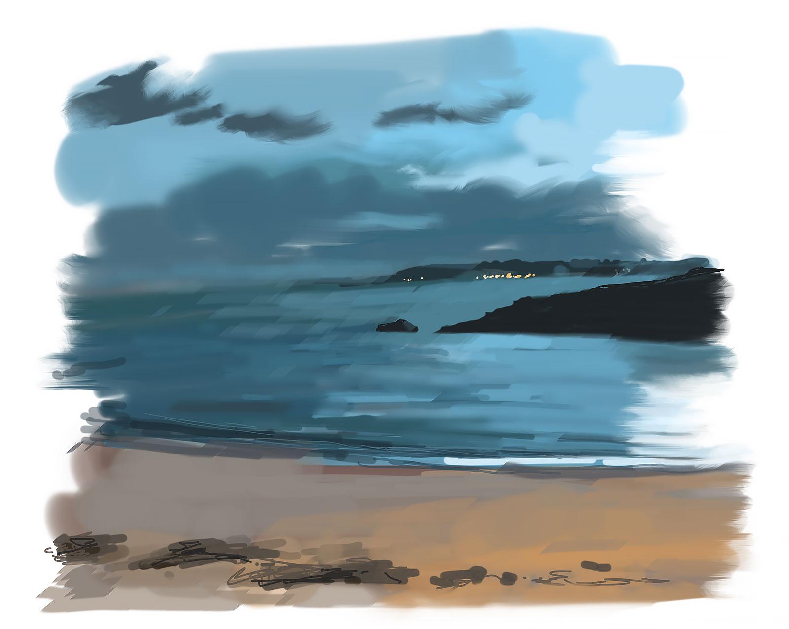 peinture numérique la plage du pérello à la tombée de la nuit