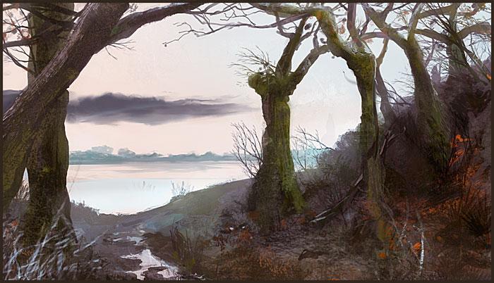 painting : forêt de kerdual à Lorient
