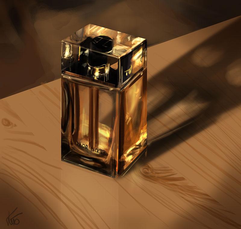 étude à la tablette graphique, flacon de parfum