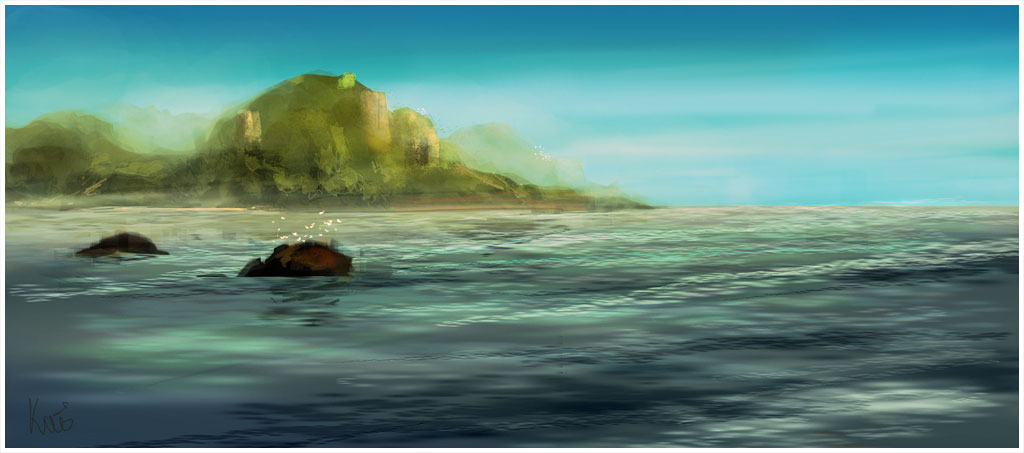 Another digital painting, at first it was actualy a render test for wave brushes in Photoshop.
