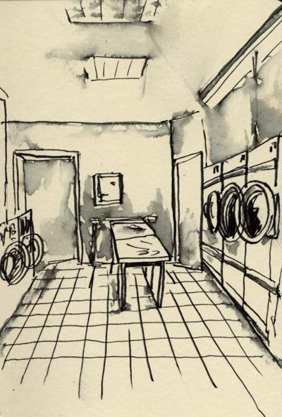 croquis d'une laverie, au lavis d'encre