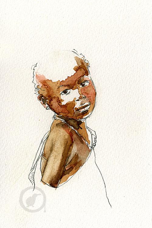 aquarelle d'un enfant africain