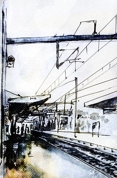 croquis direct de la gare de Lorient