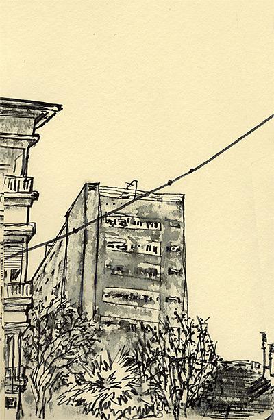 dessin à l'encre sur carnet moleskine