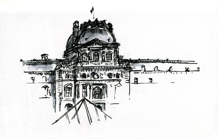 musée du louvre, dessiné à l'encre