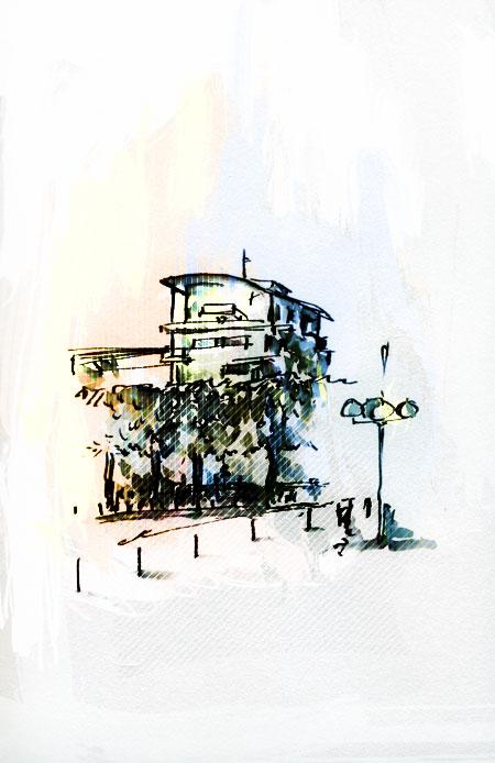Vue de la gare de Nantes, croquis d'un immeuble
