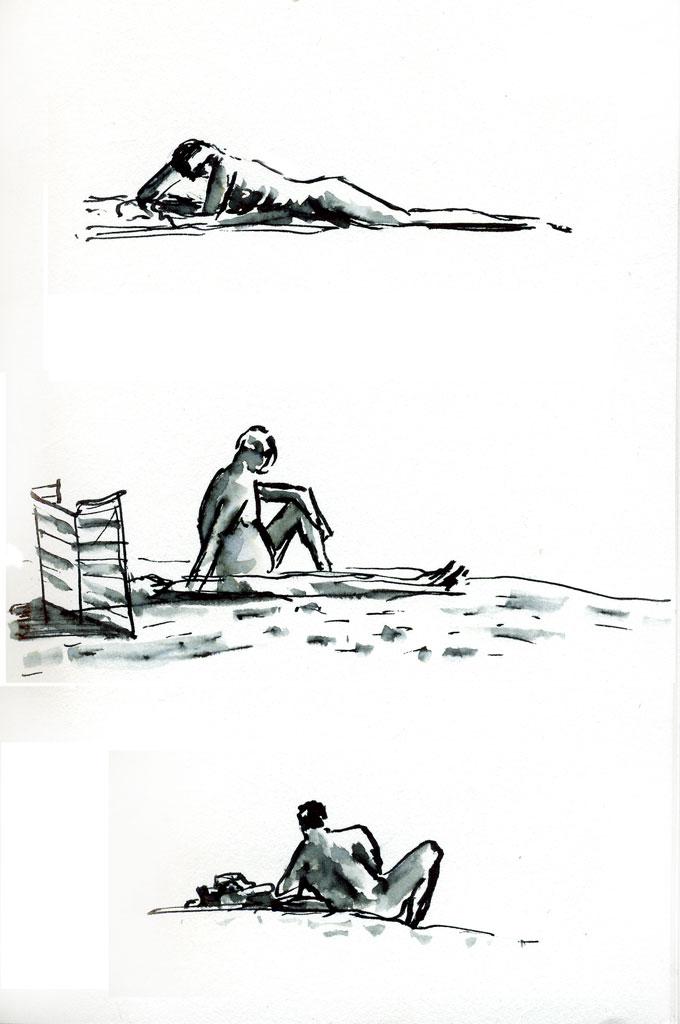 croquis à l'encre, personnages à la plage